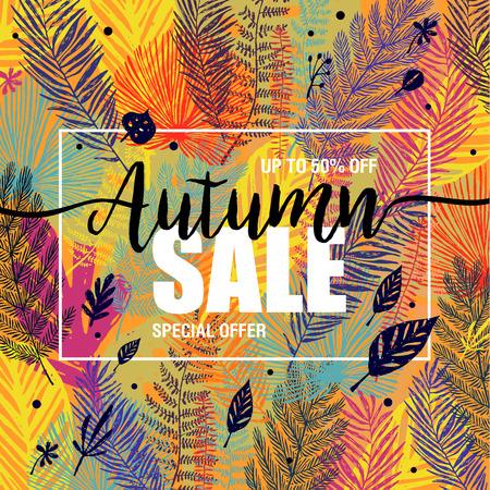 Poster autumn sales on a floral multicolor trendy background. Card, banner design element. Vector illustration