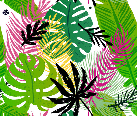 Seamless trendy pattern with green exotic palm leaves on a white background. Vector illustration Illustration