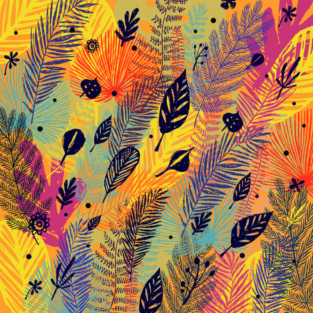 Deciduous, multicolor trendy autumn background, leaf fall. Vector botanical illustration, Great design element for congratulation cards, banners.  イラスト・ベクター素材