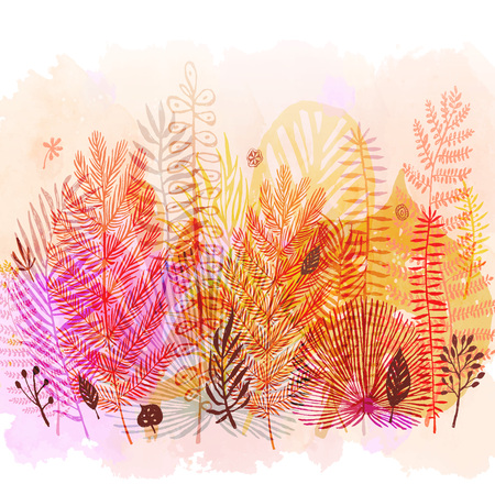 Trendy autumn exotic leaves in watercolor style.
