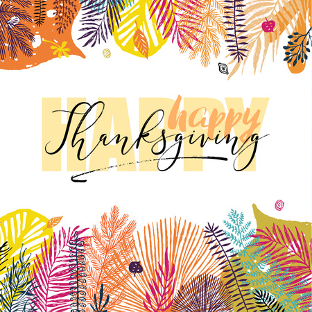 Happy Thanksgiving Day inscription on autumn background with autumn leaves. Great design element for congratulation cards, banners, poster and other.