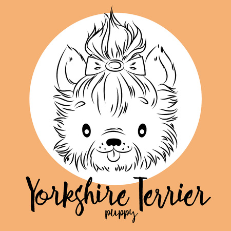 Dog, Yorkshire Terrier puppy head isolated and inscription. Vector illustration, design element for cards, banners and other Illustration