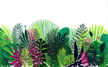 trendy pattern with exotic palm leaves on a white background. Vector botanical illustration, design element for congratulation cards, print, banners and others