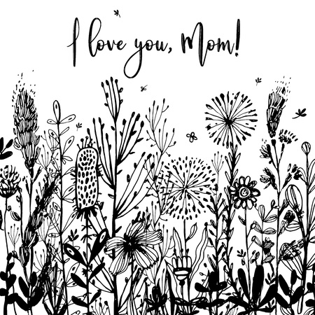 I love you, Mom black-and-white Background, celebration badge, tag. Text, card invitation, template. Vector illustration, Great design element for congratulation cards, print, banners and others Vectores