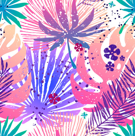 Seamless trendy pink pattern with exotic palm leaves and Monstera. Vector botanical illustration, design element for for fabric, wrapping paper, congratulation cards, print, banners Ilustracja