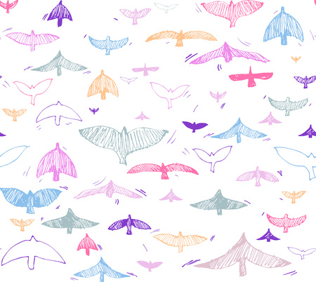 Print, seamless pattern with colorful doveson a white background. Vector illustration, Great design element for fabric, wrapping paper, congratulation cards, banners, flyers, and another
