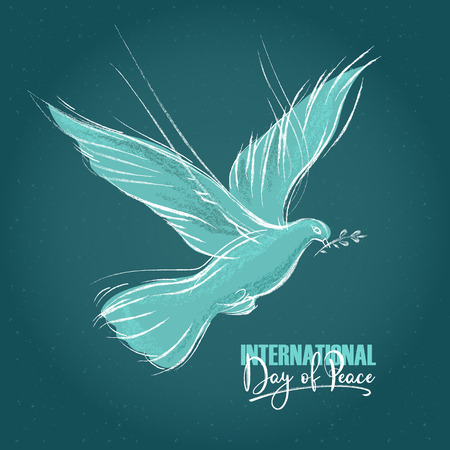 pigeon with a sprig and hand written text, blue background for International Day of peace. Vector illustration, design element for congratulation cards, print, banners Иллюстрация
