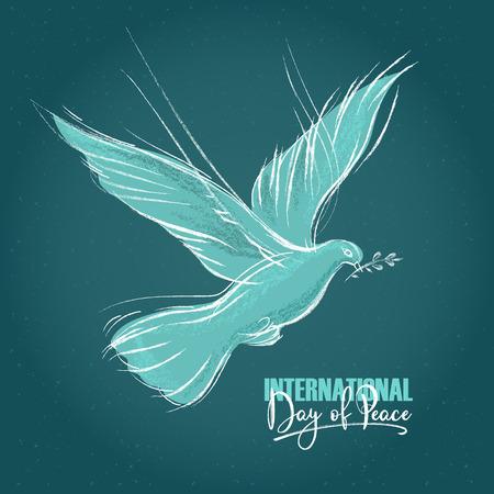 Taube mit einem Zweig und handgeschriebenem Text, blauer Hintergrund für den Internationalen Tag des Friedens. Vektorillustration, Gestaltungselement für Glückwunschkarten, Druck, Banner Vektorgrafik