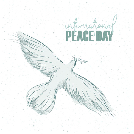 pigeon with a sprig and hand written text, background for International Day of peace. Vector illustration, design element for congratulation cards, print, banners