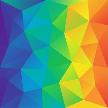 irregular polygon background with a triangular pattern in full rainbow spectrum colors. Vector illustration, great design element for brochure, banner, cover, booklet, flyer, web, UI, card, poster Иллюстрация