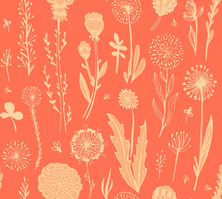 seamless pattern with pink doodle flowers on a red background. Hygge, boho style. Vector illustration. design element for fabric, wrapping paper, congratulation cards, print, banners and other