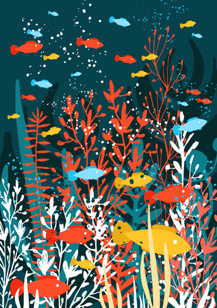 underwater world, algae, corals and swimming fishes. Vector illustration, design element for fabric, wrapping paper, cards, banners flyers