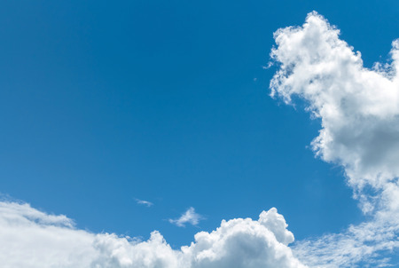 good heavens: Space blue on light blue sky and white cloud