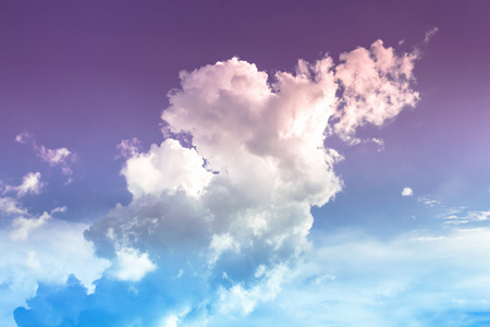 the firmament: colorful cloud to heaven,purple and ligt blue sky with white and color cloud Stock Photo