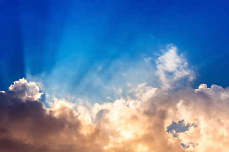 the firmament: colorful sky with cloud,Sun beam in blue sky with orange cloudy