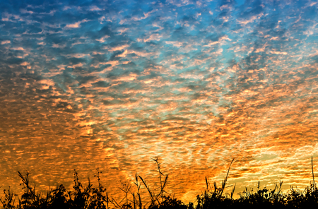 the firmament: Blue and orange alto cumulus with grass shadows Stock Photo