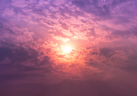 the firmament: Sunset with pink and violet light in overcast sky Stock Photo