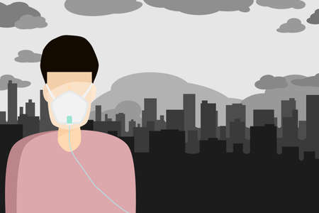 We need fresh air,Air pollution in big cities Ilustração