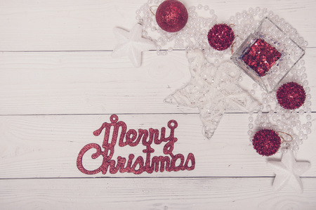 Merry Christmas Red White Holiday Fir Tree Toy Decor Star Ball Gift Magic Composition white Background Top View 写真素材