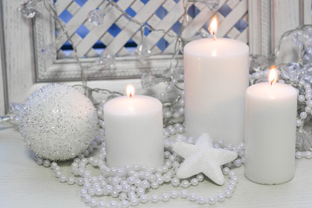 White christmas candles, shiny decorations