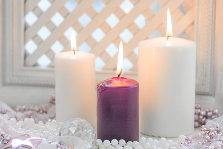 White and purple christmas candles