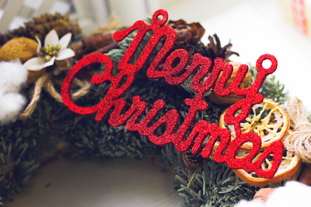 Merry christmas red gleaming inscription