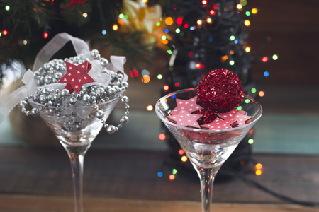 Festive still life with two cocktail glasses Stock Photo