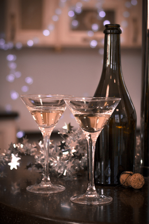 a bottle and two glasses of champagne Stock Photo