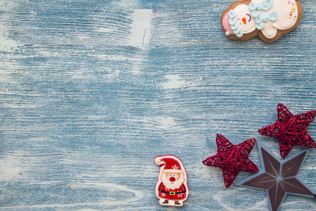 A blue wooden Christmas background with decorations Stock Photo