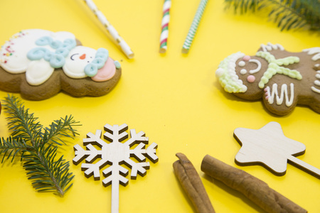 Christmas decorations on a yellow background