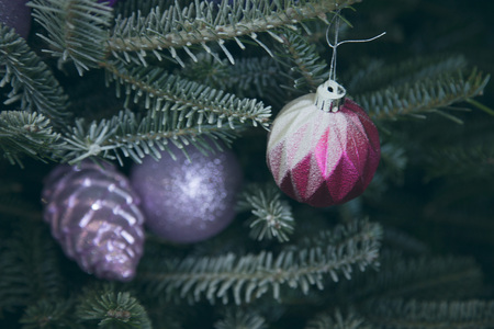 Holiday background with decorated Christmas tree Stock Photo