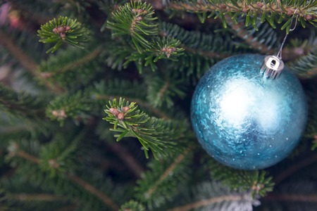 A blue gliittery Christmas-tree ball with sequins and beads hanging on fir tree branches. Blurred background. Green Christmas or New Year background. Close up. Stock Photo