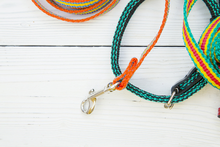 Take your pet for a walk. Colorful textile leashes with chrome clasps on a white wooden background. Space for a text or image