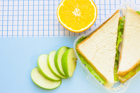 Fresh sandwich with lettuce in a plastic container, orange and sliced green apple, top view, blue and white squared paper background Stock Photo