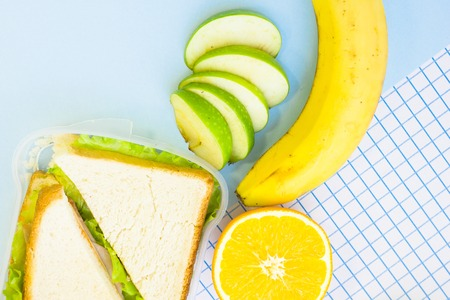 Fresh sandwich with lettuce in a plastic container, orange, banana, and sliced green apple, top view, blue and white squared paper background