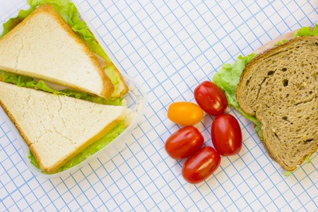 Sandwiches and cherry tomatoes , top view, white squared paper background with copy space