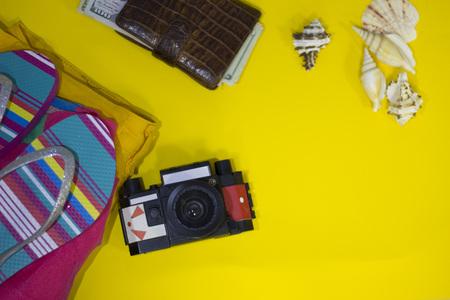 Travel or tourism yellow background Archivio Fotografico