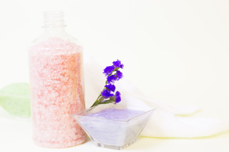 Spa concept with green bath salt