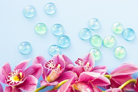 Spa and wellness setting with orchid flower, oil on wooden blue background closeup Stock Photo
