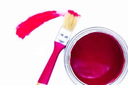 House renovation concept, colorfull paint cans and paintbrushes on wooden background top view Standard-Bild - 115543368
