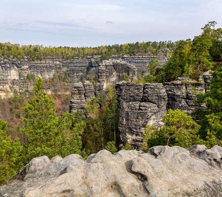 The Elbe Sandstone Mountains are a sandstone massif Фото со стока