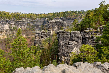 The Elbe Sandstone Mountains are a sandstone massif 스톡 콘텐츠