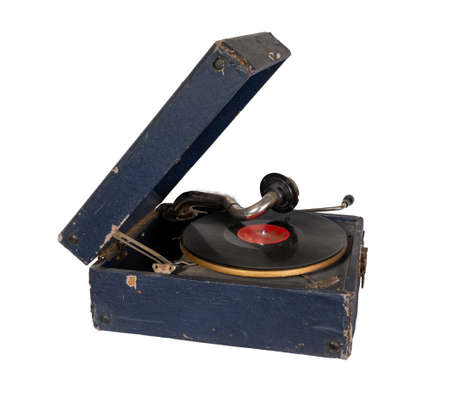 Phonograph with crank. Old gramophone Isolated on a white background. Stock Photo