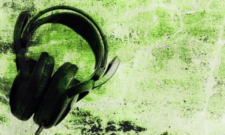 Headphone grunge as music background photo
