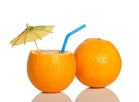 cocktail umbrella: Orange as a drink with a straw and umbrella