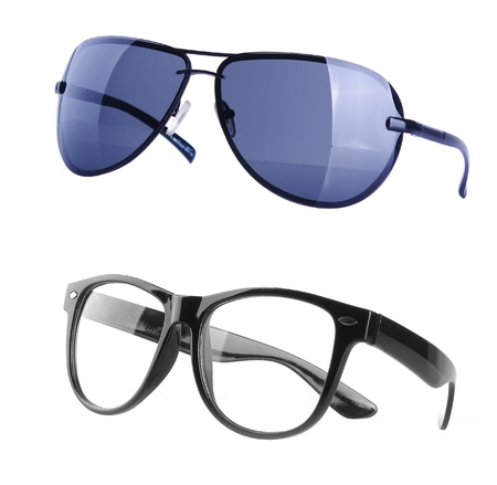 protective spectacles: One black sunglasses on the white background Stock Photo