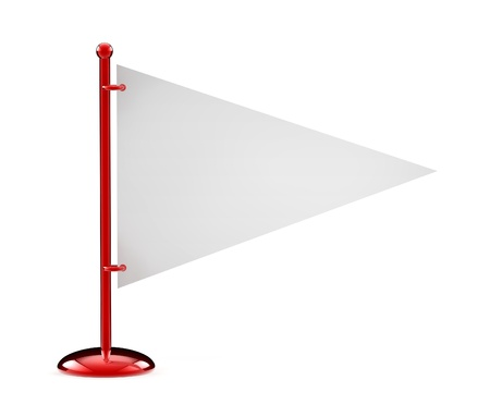 Flag white isolated on a white  3D  Stock Photo - 13566331