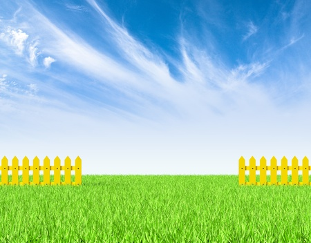 grass land: Green field and yellow fence  Render   Stock Photo