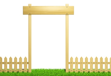 Green field and wooden fence  Render  photo