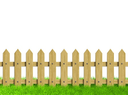 paling: Green field and wooden fence  Render  Stock Photo